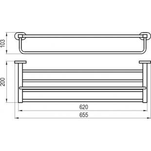 Полка для полотенец с держателем 66 см Ravak CR 330, X07P194