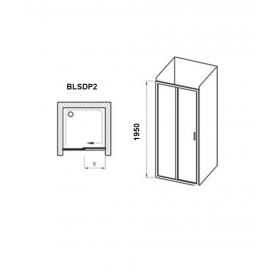 Душевые двери Ravak BLIX Slim BLSDP2-100, полированный алюминий +Transparent, X0PMA0C00Z1