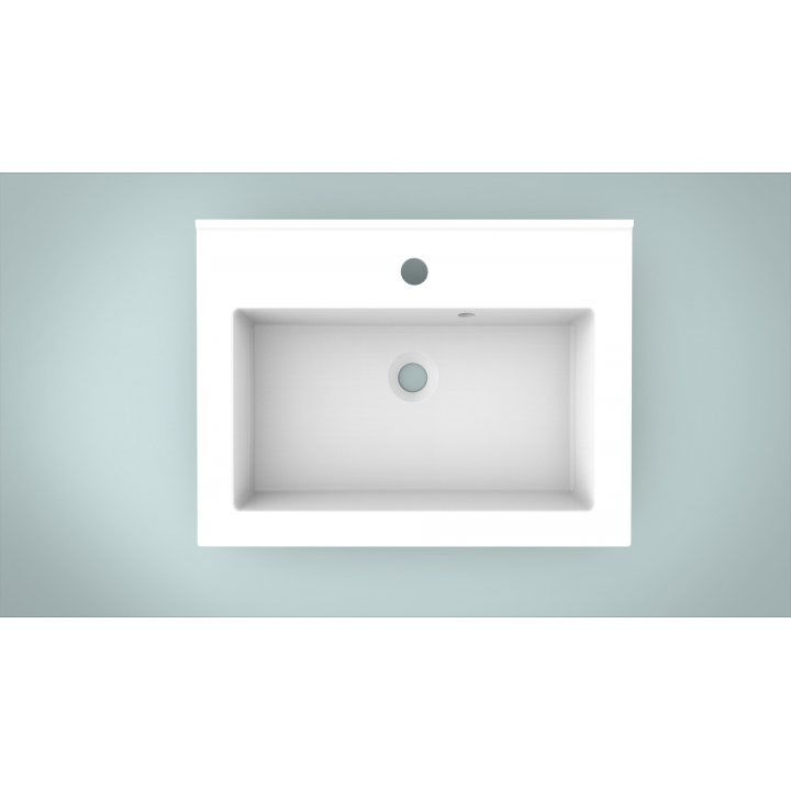 Мебельная раковина 2BI Quadra 60x45x15, белая, прямоугольная, 2.bi0000.6045.0