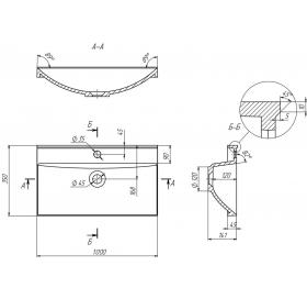 Мебельная раковина 2BI Tiny 100x35, белая, прямоугольная, 2.bi.0000.10035.0