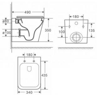 Rostriks UNO Corta унитаз укороченный безободковый с сидением дюропласт soft-close
