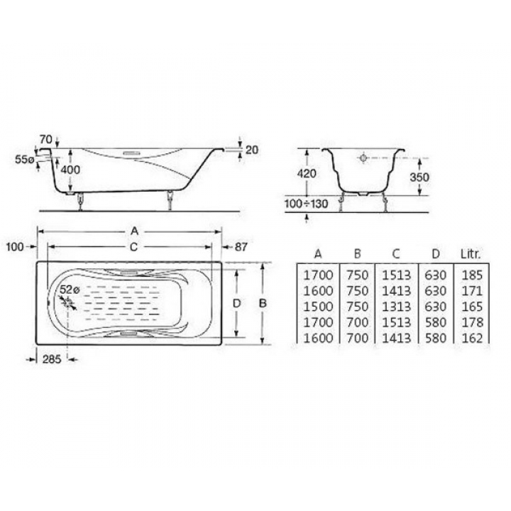 Ванна чугунная Roca MALIBU 150 x 75 с ручками, без ножек (23157000R)