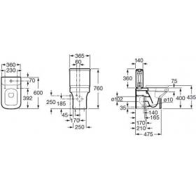 Бачок унитаза Roca DAMA-N двойной спуск 3/4,5 л., боковой подвод