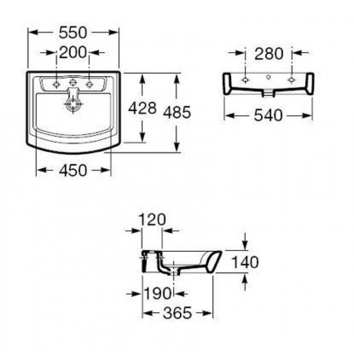 Раковина подвесная / накладная Roca HALL 55 см с отверстием