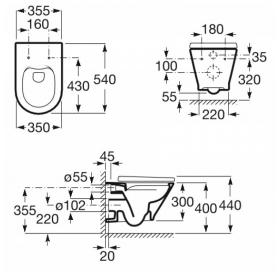 Унитаз подвесной Gap ROUND Rimless сидение с доводчиком, A34H0N8000