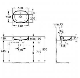 Раковина накладная Roca GAP 55 см с отверстием под смеситель A3270Y0000