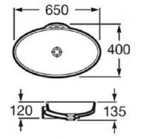 Раковина накладная Roca URBI-5, 65 см, без отверстия