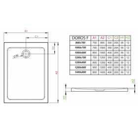 Душевой поддон RADAWAY Doros F, 140x80, SDRF1480-01