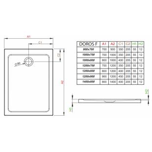 Душевой поддон RADAWAY Doros F, 120x70, SDRF1270-01