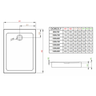 Душевой поддон RADAWAY Doros F Compact, 120x80, SDRFP1280-05