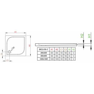 Душевой поддон RADAWAY Delos C, 90x90, SDC0909-01