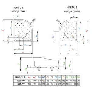 Душевой поддон RADAWAY Korfu E, 100x90 левый, 4E91240-03L