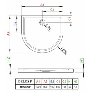 Душевой поддон RADAWAY Delos P, 100x90, 4Z19035-03N