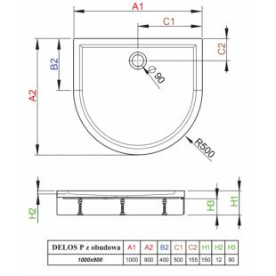 Душевой поддон RADAWAY Delos P, с панелью, 100x90, 4Z19150-03N