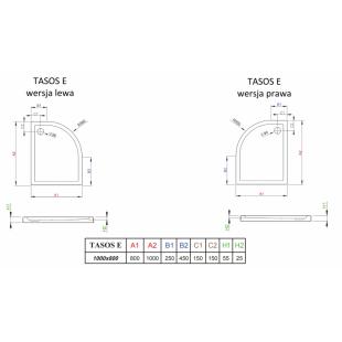 Душевой поддон RADAWAY Tasos Plus E, 100x80, STE1086-30L