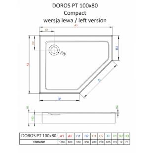 Душевой поддон RADAWAY Doros PT E Compact, 100x80 левый, SDRPTP1080-05L