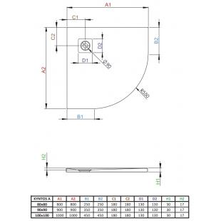 Душевой поддон RADAWAY Kyntos A Anthracite, 100x100, HKA100100-64