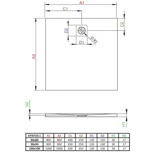 Душевой поддон RADAWAY Kyntos C Black, 100x100, HKC100100-54