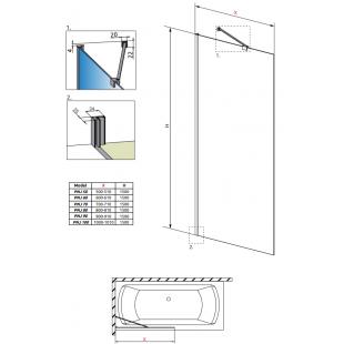 Шторка для ванны RADAWAY Idea PNJ 50, 10001050-01-01