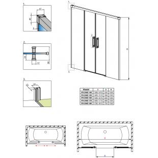 Шторка для ванны RADAWAY Idea PN DWD 140,  10004140-01-01