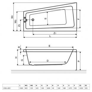 Ванна акриловая RADAWAY EVIA 150x80P (WA1-44-150х080P) + ножки (NWA-62) + сифон R135L