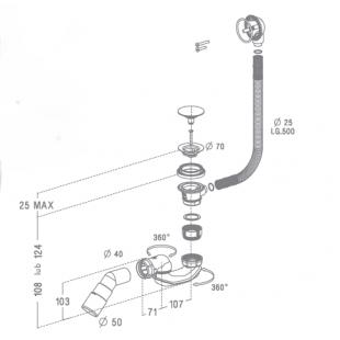 Сифон для ванны и глубоких душевых поддонов Radaway, автоматический, пластик, B602R