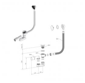 Сифон для ванны Radaway, автоматический, пластик, R135L