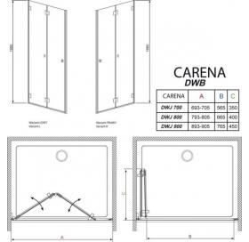 Душевая дверь RADAWAY Carena DWB 80, тип Bi-Fold, 34512-01-01NL