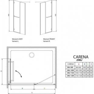 Душевая дверь RADAWAY Carena DWJ 110, 34333-01-01NL