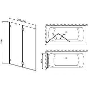 Шторка для ванны RADAWAY Carena PND 130, 202201-101R