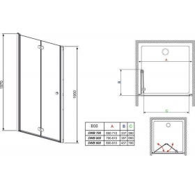 Душевая дверь RADAWAY Eos DWB 90, тип Bi-Fold, 37803-01-12NL