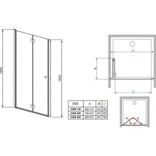 Душевая дверь RADAWAY Eos DWB 80, тип Bi-Fold, 37813-01-01NL