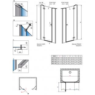 Душевая дверь RADAWAY Essenza New Black DWJS 110, 385030-54-01 L/R + 384090-54-01