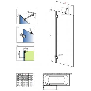 Шторка для ванны RADAWAY Essenza Pro PNJ 50 II, 10101050-01-01