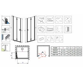 Душевая дверь RADAWAY Fuenta New DWB 100R, 384077-01-01R
