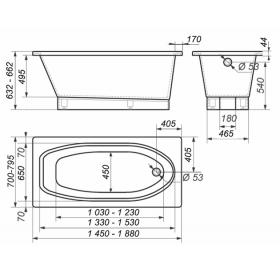 Ванна Rock Design Барселона 145 х 80 1B145080