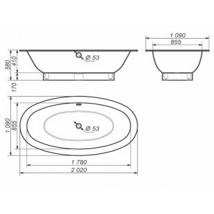 Ванна Rock Design Гармония ПЛЮС 202 х 109 1GP202110