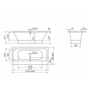 Ванна Rock Design Глория 185 х 90 1GL185090