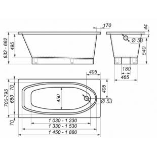 Ванна Rock Design Классика ПЛЮС 160 х 80 1KP160080