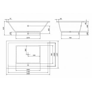 Ванна Rock Design Классика XXL прямоугольная 190 х 120 1K190120