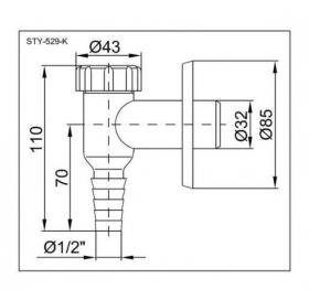 Сифон STYRON STY-529-K наружний для стиральной и посудомоечной машин хромированный
