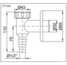 Сифон STYRON STY-529 наружный для стиральной и посудомоечной машин белый
