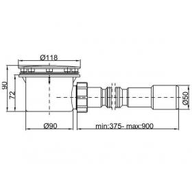 Сифон STYRON STY-401-FJ душевого поддона Ø90 мм с гидрозатвором белый + гибкая труба очищаемый
