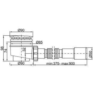 Сифон STYRON STY-402-FJ душевого поддона  Ø50 мм с гидрозатвором белый + гибкая труба очищаемый