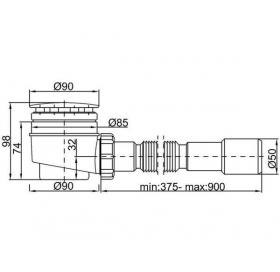 Сифон STYRON STY-402-KJ душевого поддона  Ø50 мм с гидрозатвором, хромированный + гибкая труба очища