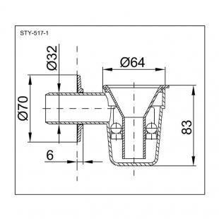 Сифон STYRON STY-517-1-K для бойлера с двоенным шариковым гидрозатвором хромированная