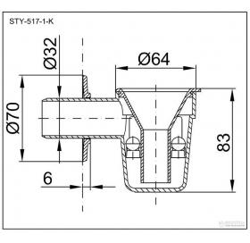 Сифон STYRON STY-517-1 для бойлера сдвоенным шариковым гидрозатвором белая