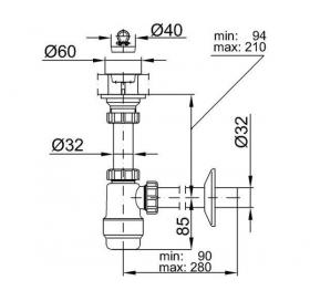 """Сифон STYRON STY-533 для умывальника 5/4"""" с водосливом и подводкой  Ø32 мм"""