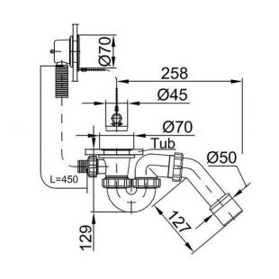 Сифон STYRON STY-536 для ванны 530 мм с цепочкой