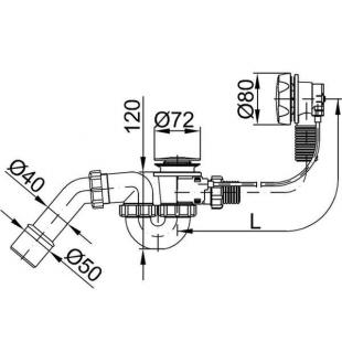 Сифон STYRON STY-536-A-K для ванны (автомат) хромированный 530 мм.